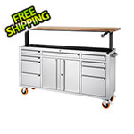 Trinity Stainless Steel Rolling Workbench with Adjustable Top