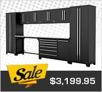 Proslat 17206K Fusion Pro 10-Piece Black Garage Cabinet Set