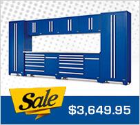 Proslat 18208K Fusion Pro 10-Piece Blue Garage Cabinet Set